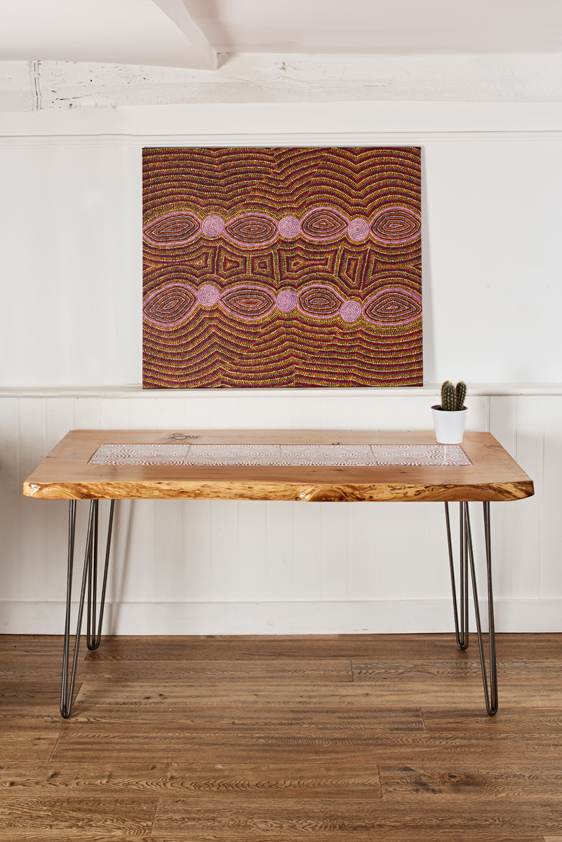 Bay Gallery Home   My Country Dining Table Australian Aboriginal Art UK  Central Desert Made In