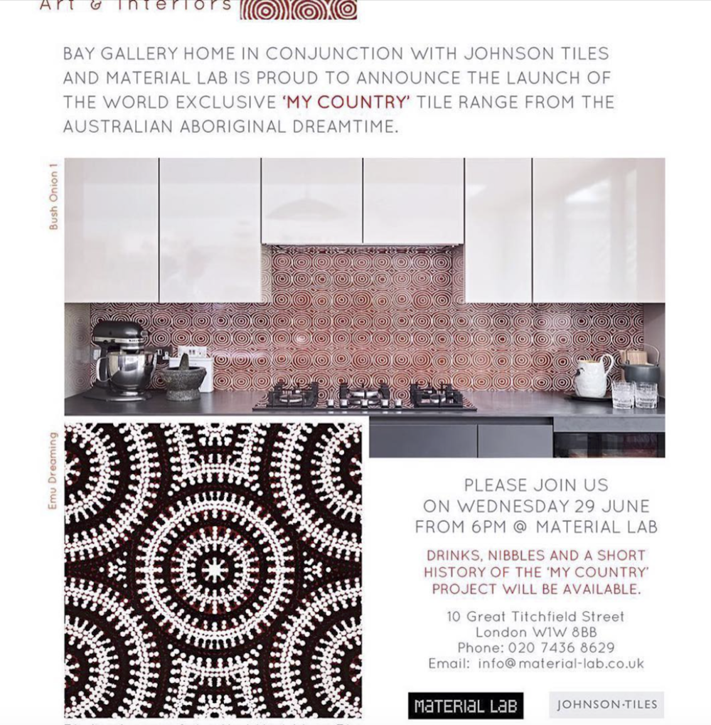 Bay Gallery Home Australian Aboriginal Art Tiles, Material Lab, Johnson Tiles