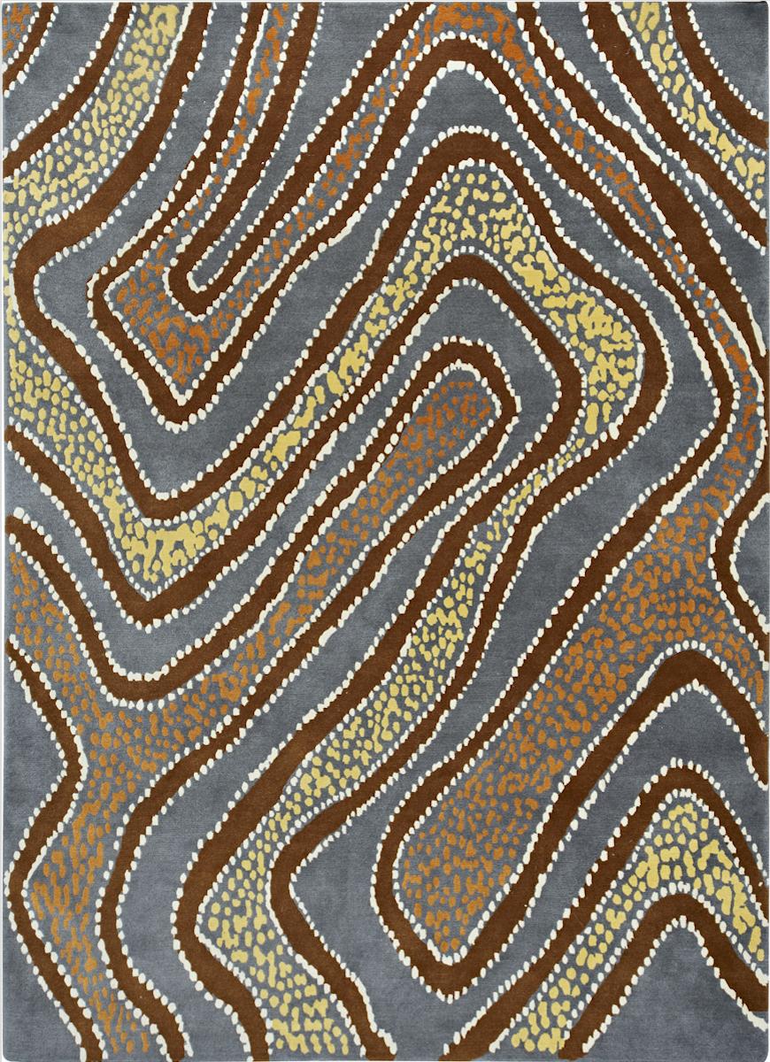 Water Dreaming (Ngapa Jukurrpa) - Puruyrru, 100% wool hand made rug.
