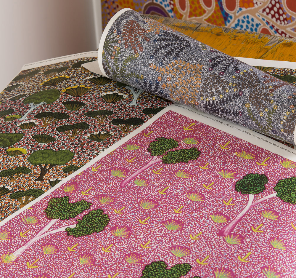 Our  My Country  PINK, BLUE & GREEN core range of wallpapers from original artwork by Australian Aboriginal artists.