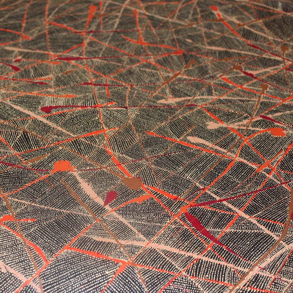 Detail from a painting we will be bringing back to Bay Gallery Home's Gallery, a fine example of the ever-evolving work of contemporary Australian Aboriginal Artists.