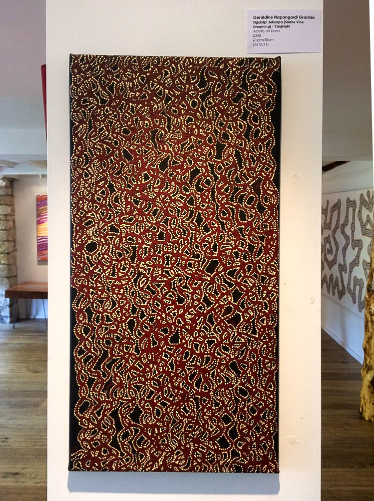 Snake Vine Dreaming, Contemporary Australian Aboriginal Art Dreamtime Black Red. Bay Gallery Home.