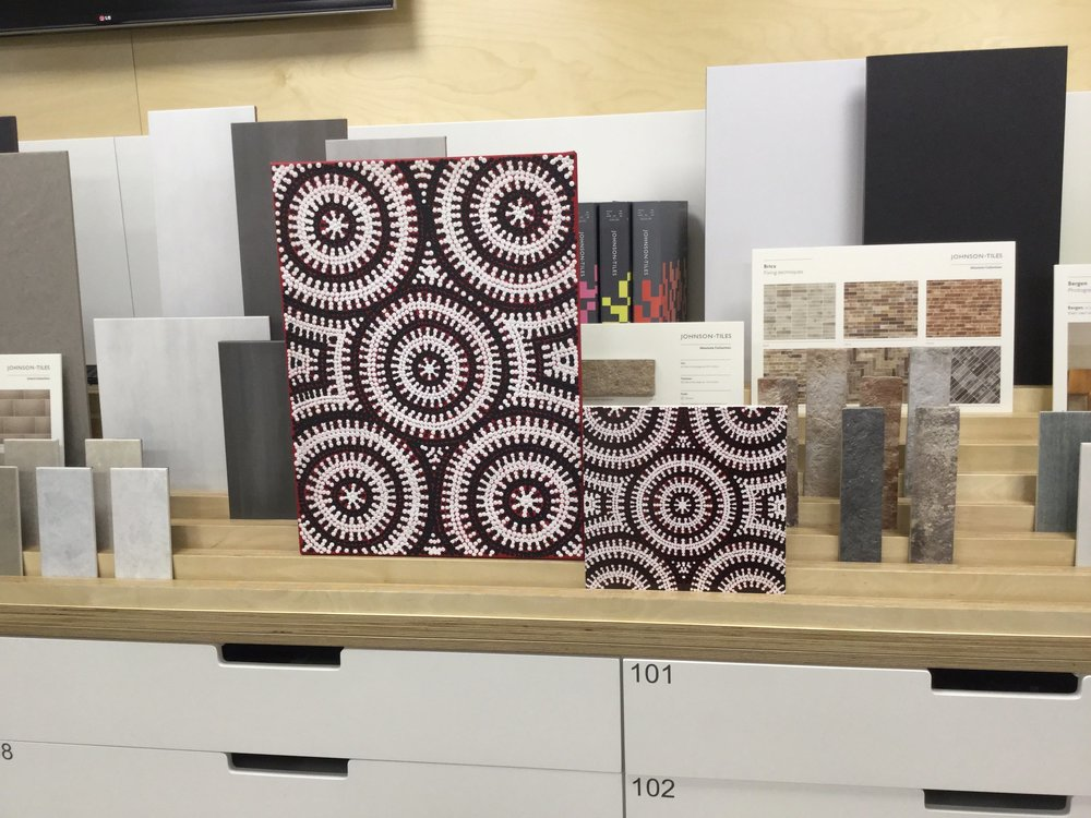 Our  award-winning Emu Dreaming ceramic wall tile  from an original Australian Aboriginal painting, samples of which are kept in  the Material Lab tile library  for public consultation.