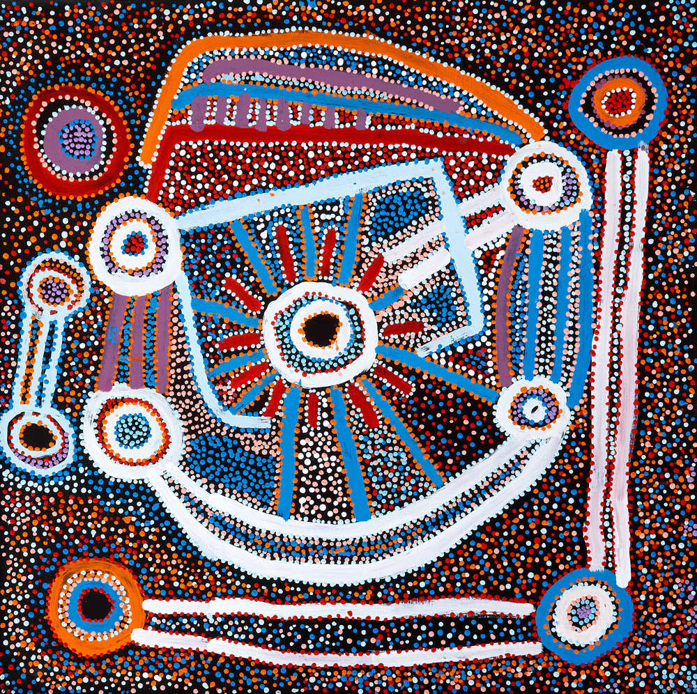 One of our new paintings by Watson Jangala Robertson.  All the  paintings were hand selected in the Central Australian Desert.  There's new emerging talent amongst the new works as well as world-renowned established artists, Shorty Jangala Robertson and Murdie Nampijinpa Morris.