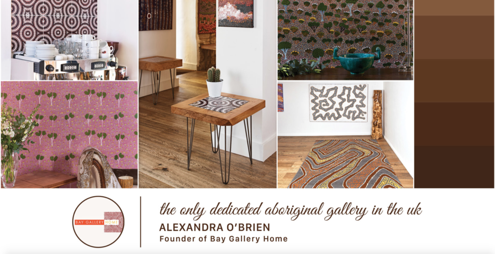 Treniq mood board featuring products from our award winning 'My Country' Aboriginal interiors collection made in the UK.
