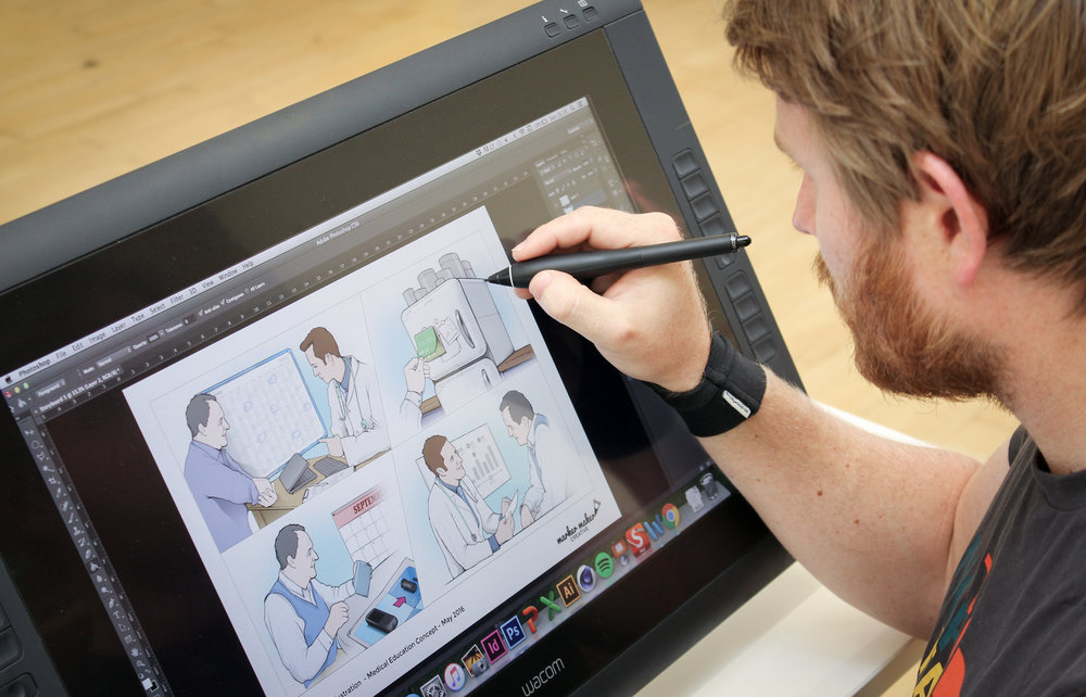 We use the latest Wacom technology and digital sketchbook software to create compelling concept visuals and storyboards