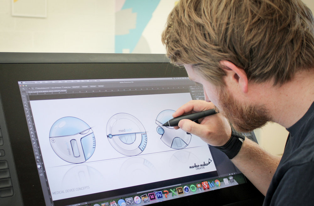 Utilising the latest Wacom tablet technology and digital sketchbook software, we create high fidelity concept visuals.  Enabling our clients and partners to present and activate synthesized innovation ideas.