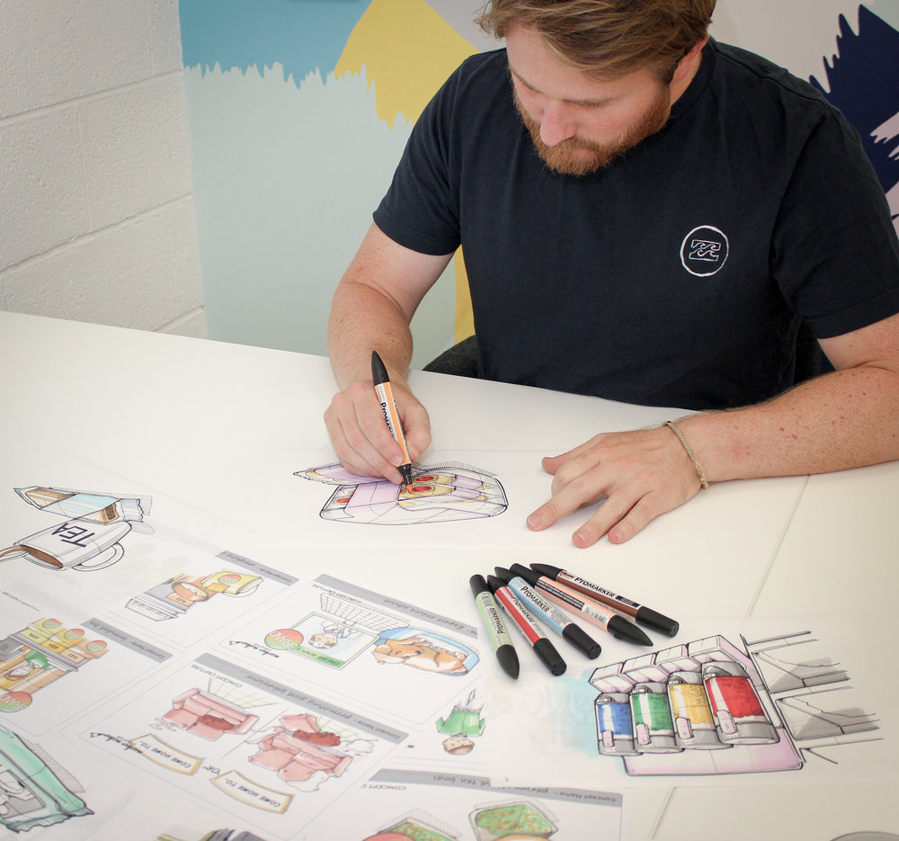 We produce marker rendered visuals to refine an initial capture, building in clarity and definition.  This traditional illustrative technique is fast and agile and can enhance lives sessions and post workshop capture.