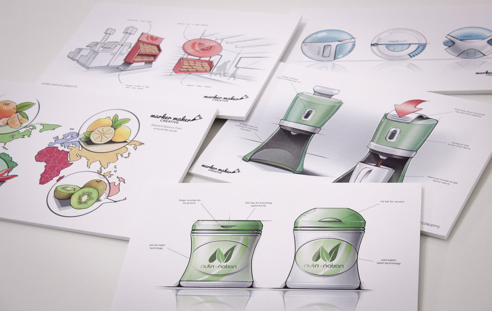 Examples of digital concept visuals, created using Wacom table - display concepts, packaging concepts, medical and consumer product concepts