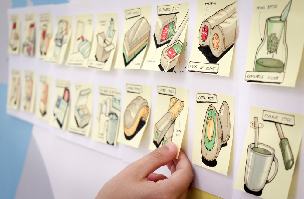 Idea Capture - Partnering with innovation and design experts we capture ideas live, becoming a key member of any creative session.  Using post it notes and thumbnail sketches we can quickly translate a groups thoughts into tangible visual outputs