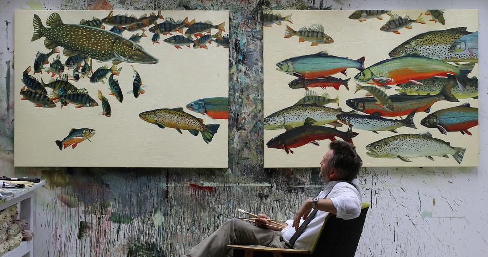 Under arbeidet med utsmykking med ferskvannsfisk.