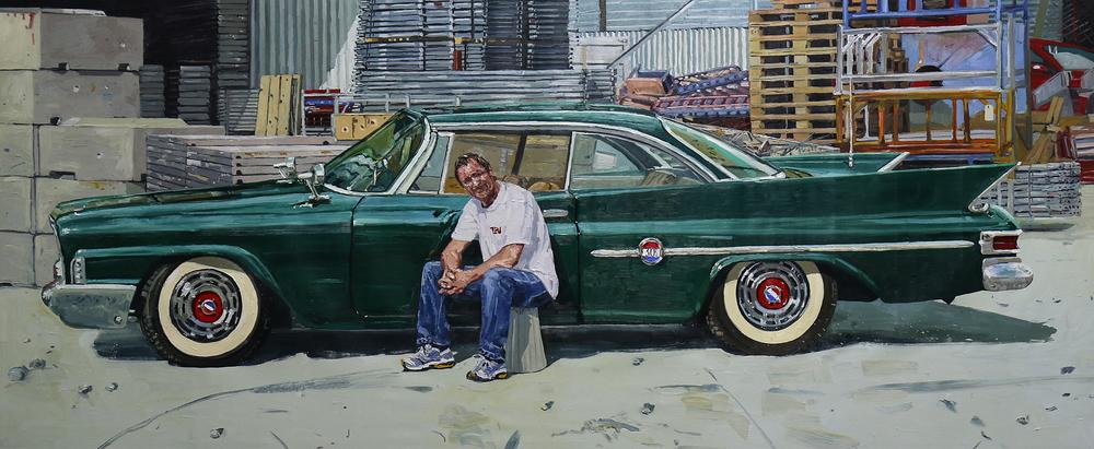 Chrysler 1961, 300G | Olje på lerret | 170x400 cm | Privat eie