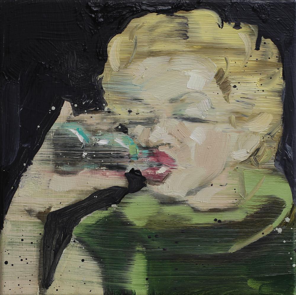 M drikker Cola | 30x30 cm | Eggolje på lerret | Privat eie