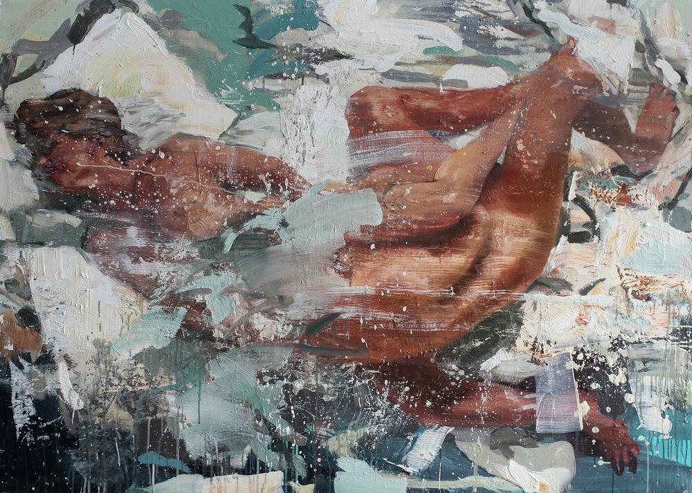 Kyss på magen | 115x160 cm | Eggolje på lerret | Privat eie