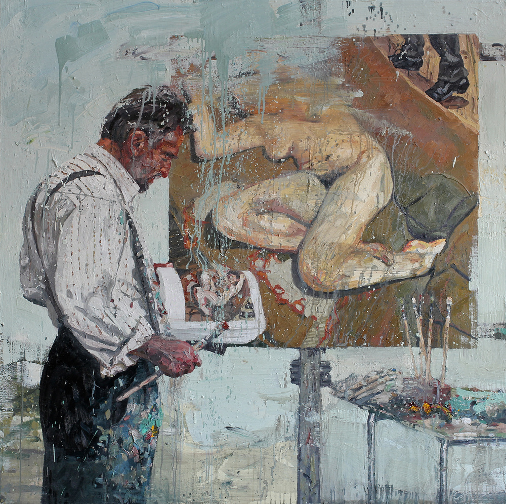 Hommage Lucian I | 150x150 cm | Eggolje på lerret | Privat eie