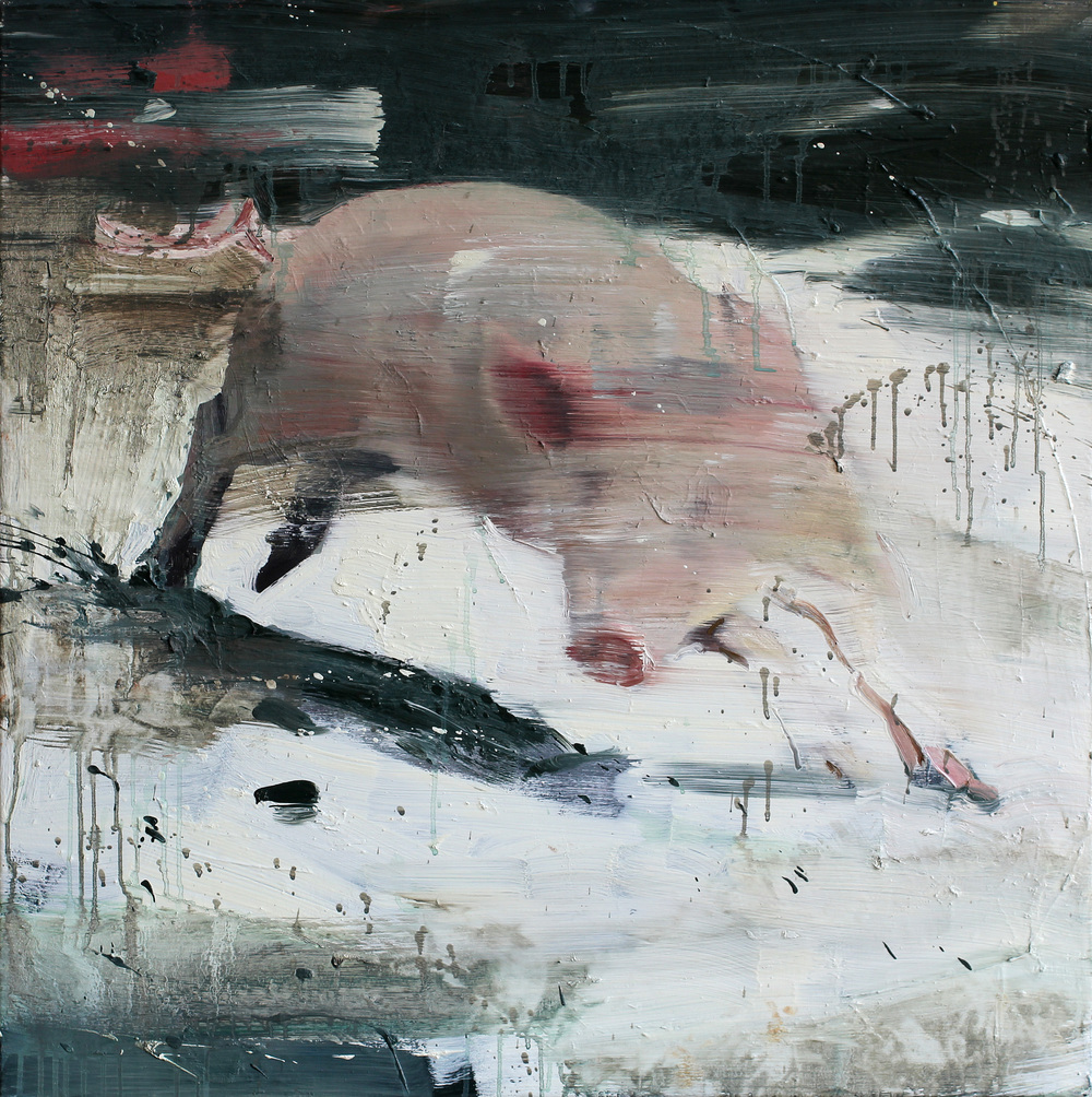 Lekende gris | 85x85 cm | Eggoljetempera på lerret | Privat eie