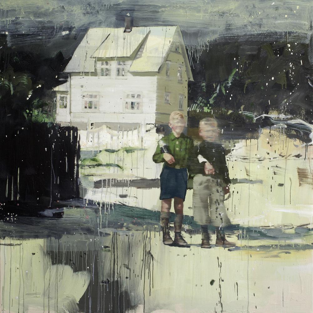 Bestemors hus | 150x150 cm | Eggoljetempera på lerret | Privat eie