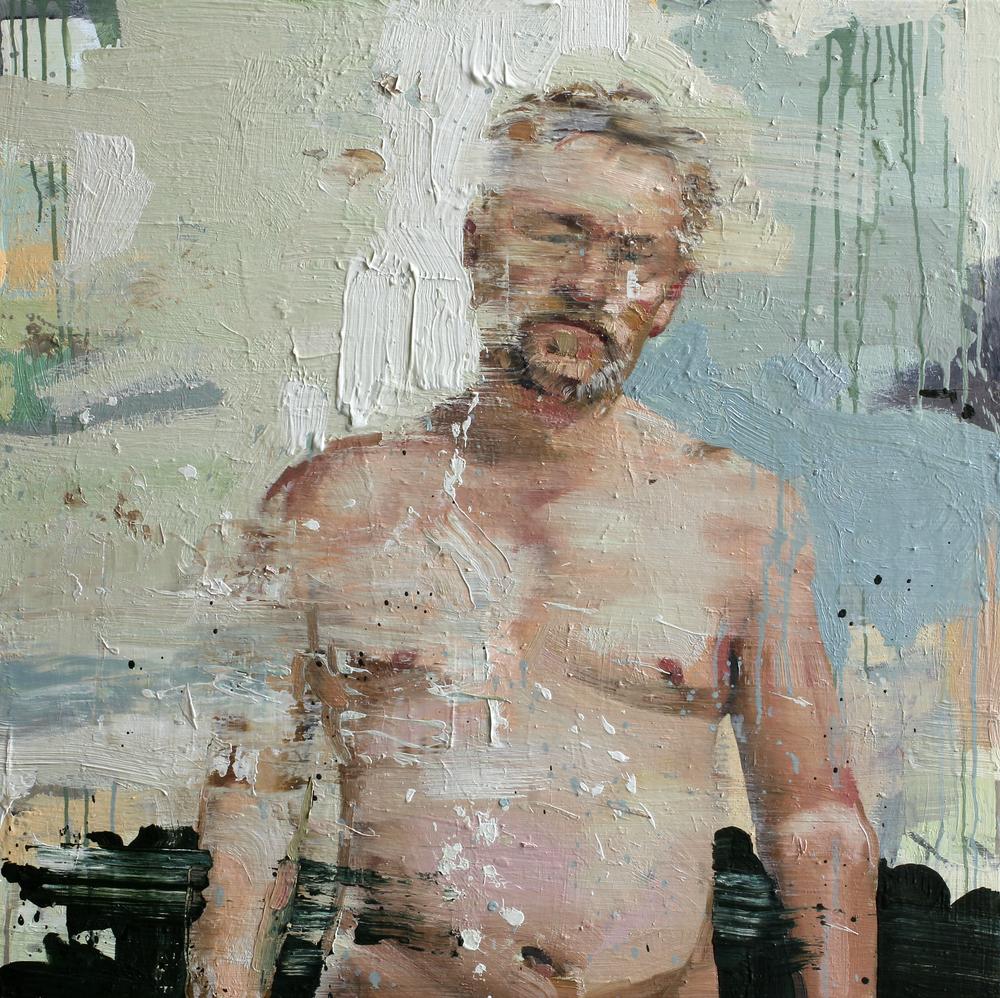 Selvportrett | 100x100 cm | Eggoljetempera på lerret | Privat eie