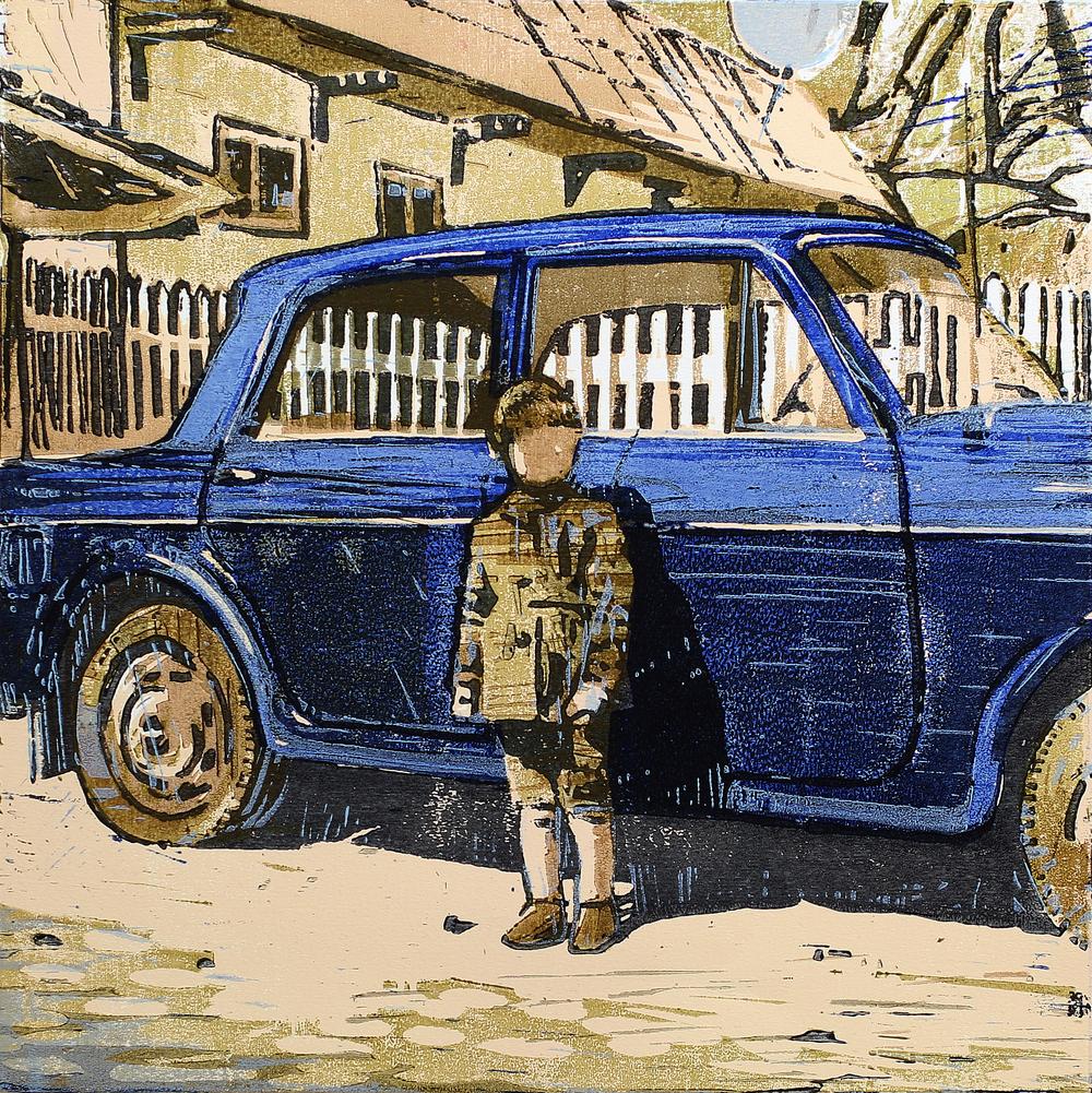 Den blå Fiaten | Tresnitt | 40x40 cm | kr. 3 500,-