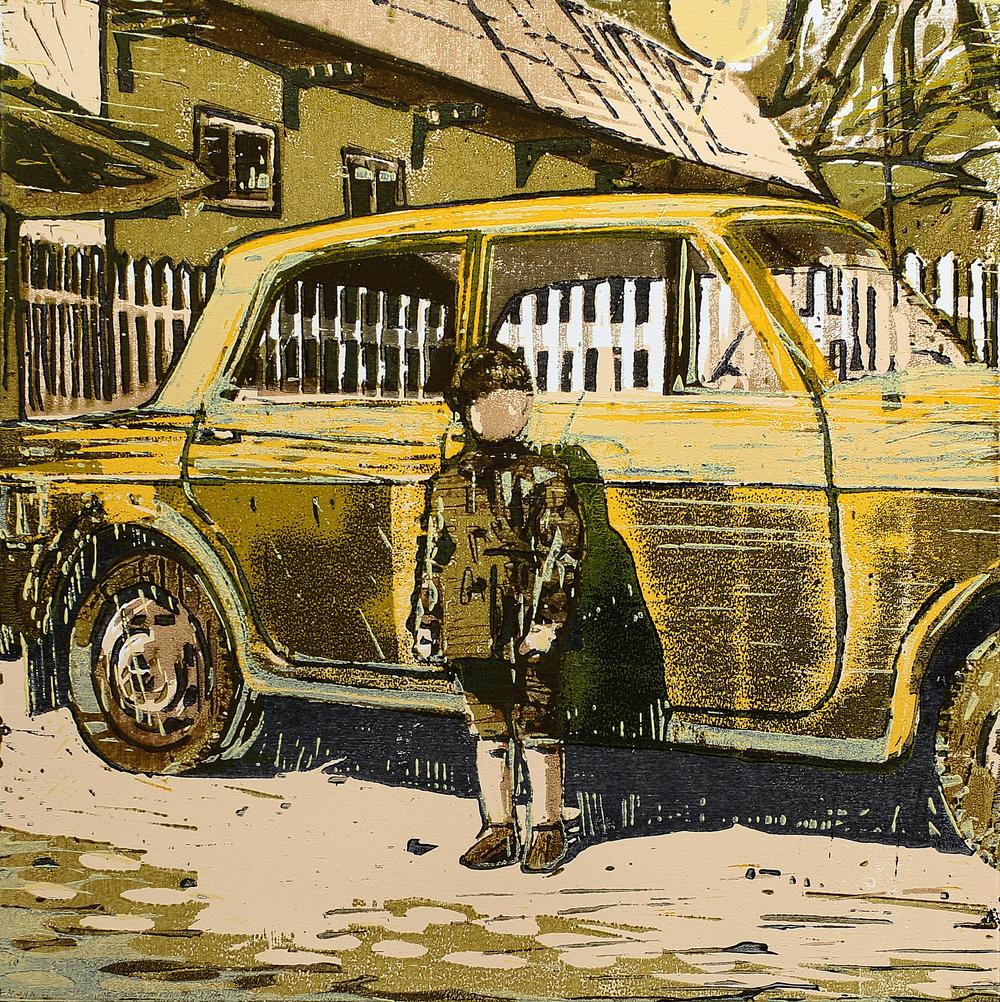 Den gule Fiaten | Tresnitt | 40x40 cm | kr. 3 500,-