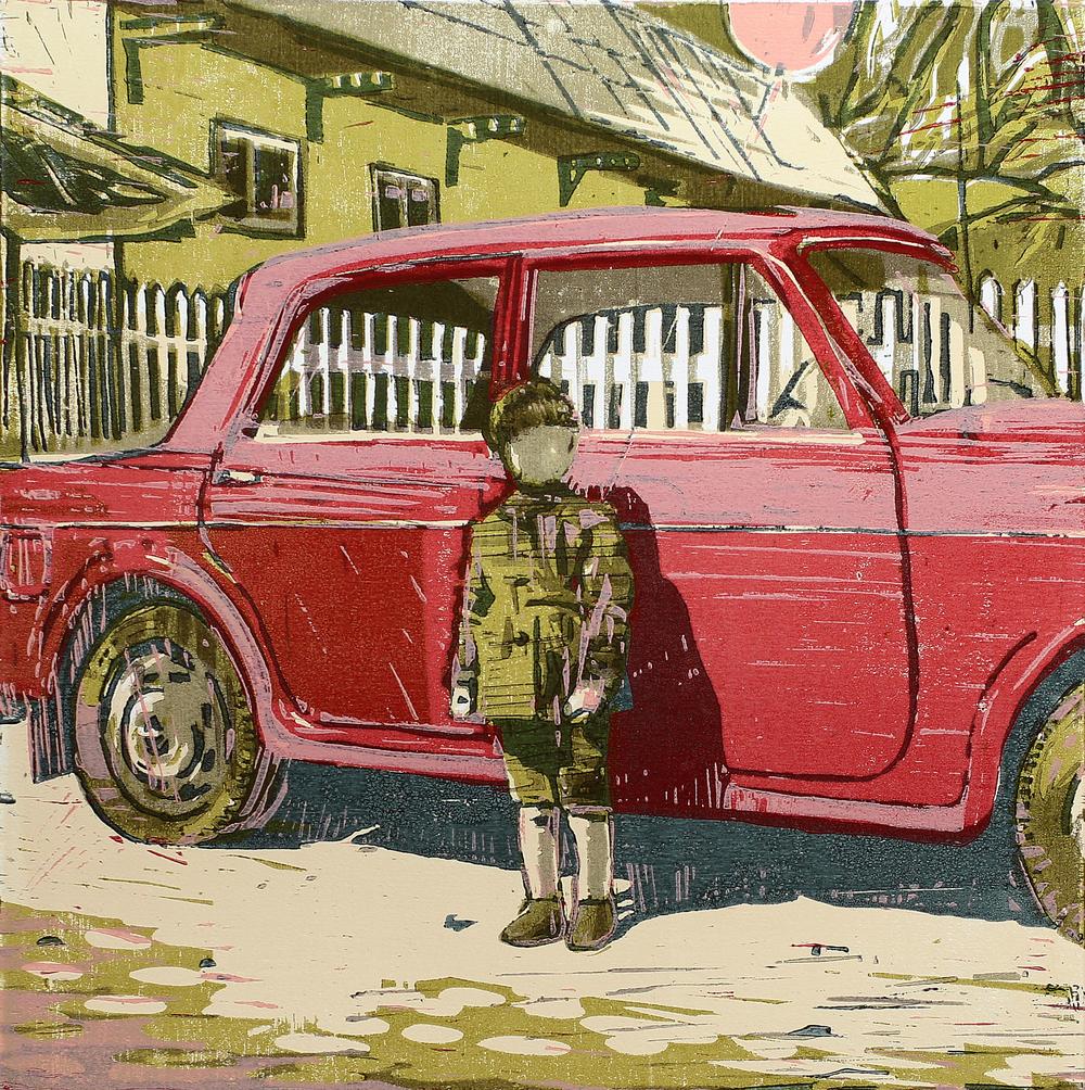 Den røde Fiaten | Tresnitt | 40x40 cm | kr. 3 500,-