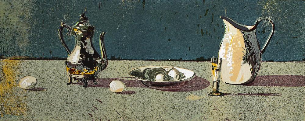 Tinnkanne og egg | Tresnitt | 25x60 cm | kr. 3 000,-