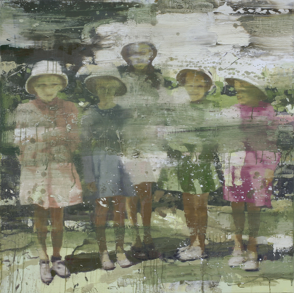 Misjonærenes døtre | 100x100 cm | Eggoljetempera på lerret | Privat eie