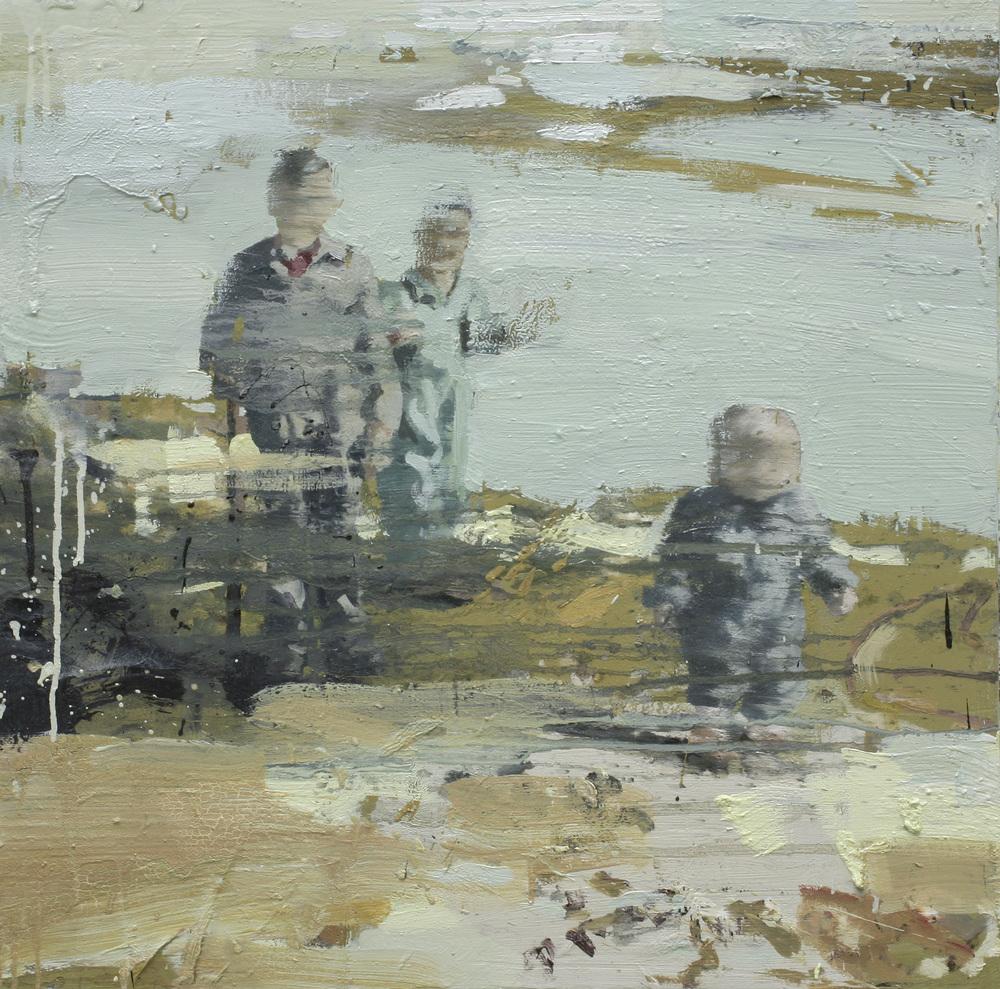 Gutter i sjøkanten | 70x70 cm | Eggoljetempera på lerret | Privat eie