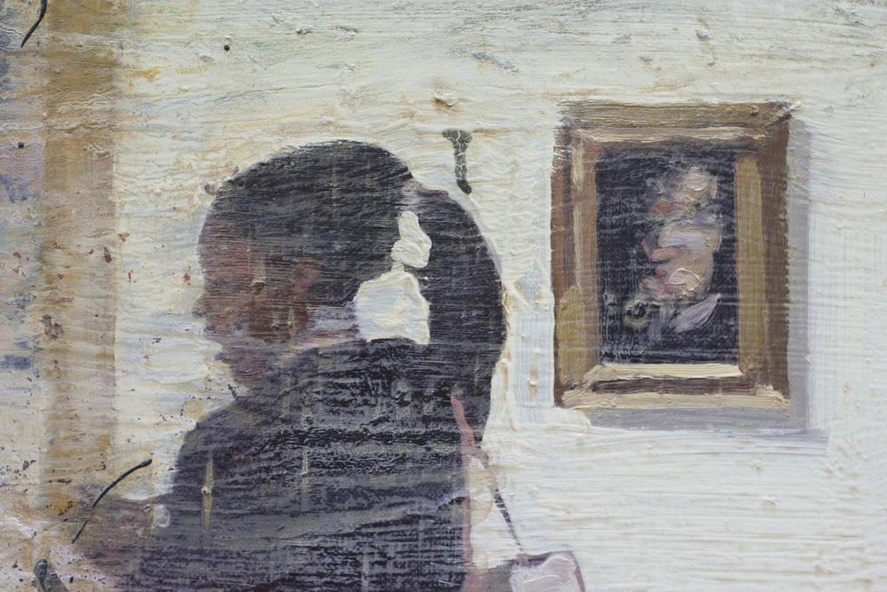 Homage Francis I ( ustsnitt I ) | 100x100 cm | Eggoljetempera på lerret | Privat eie