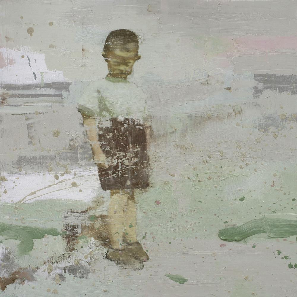 Gutt i kortbukser | 88x88 cm | Eggolje på lerret | Privat eie