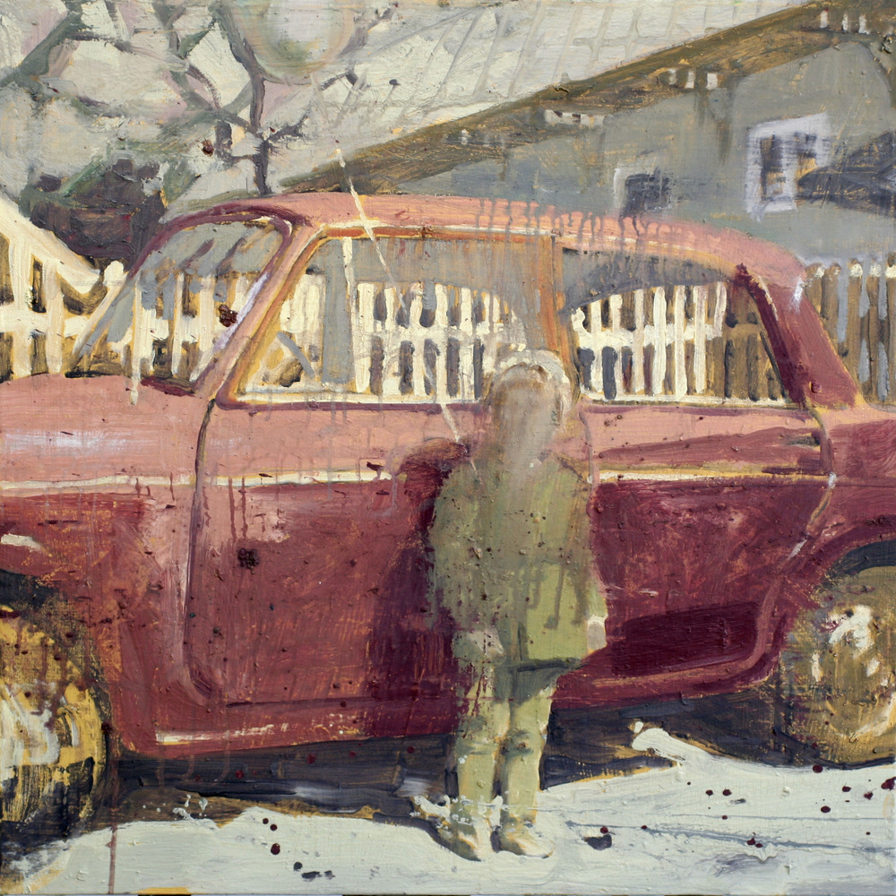 Den røde Fiaten | 80x80 cm | Eggolje på lerret | Privat eie
