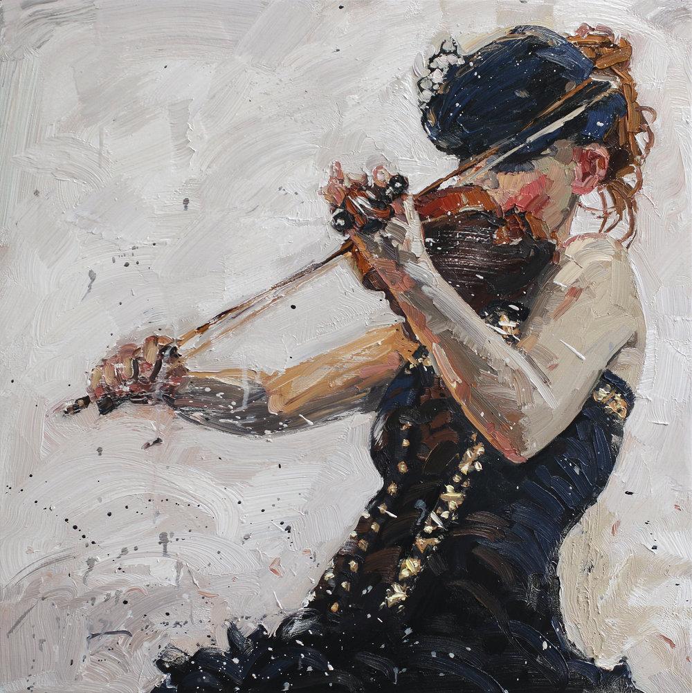 Fiolinist III | Studie | Olje på lerret | 70x70 cm | Privat eie