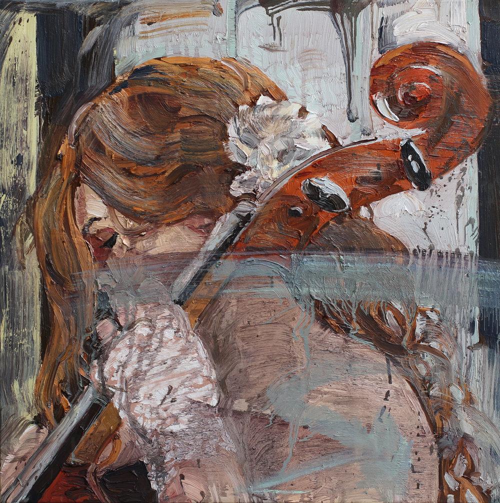 Cellotonen | 70x70 cm | Olje på lerret | Privat eie