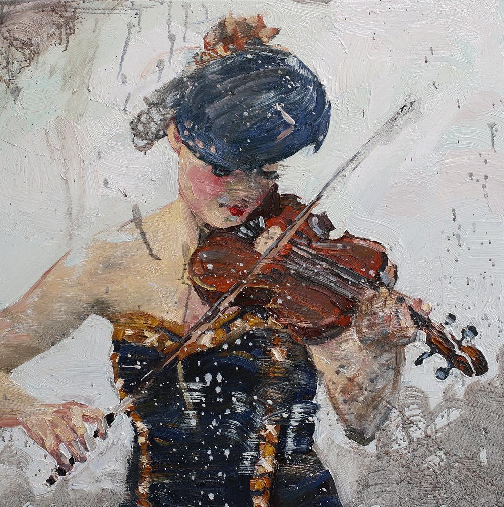 Fiolinist II | Studie | 70x70 cm | Olje på lerret | Privat eie