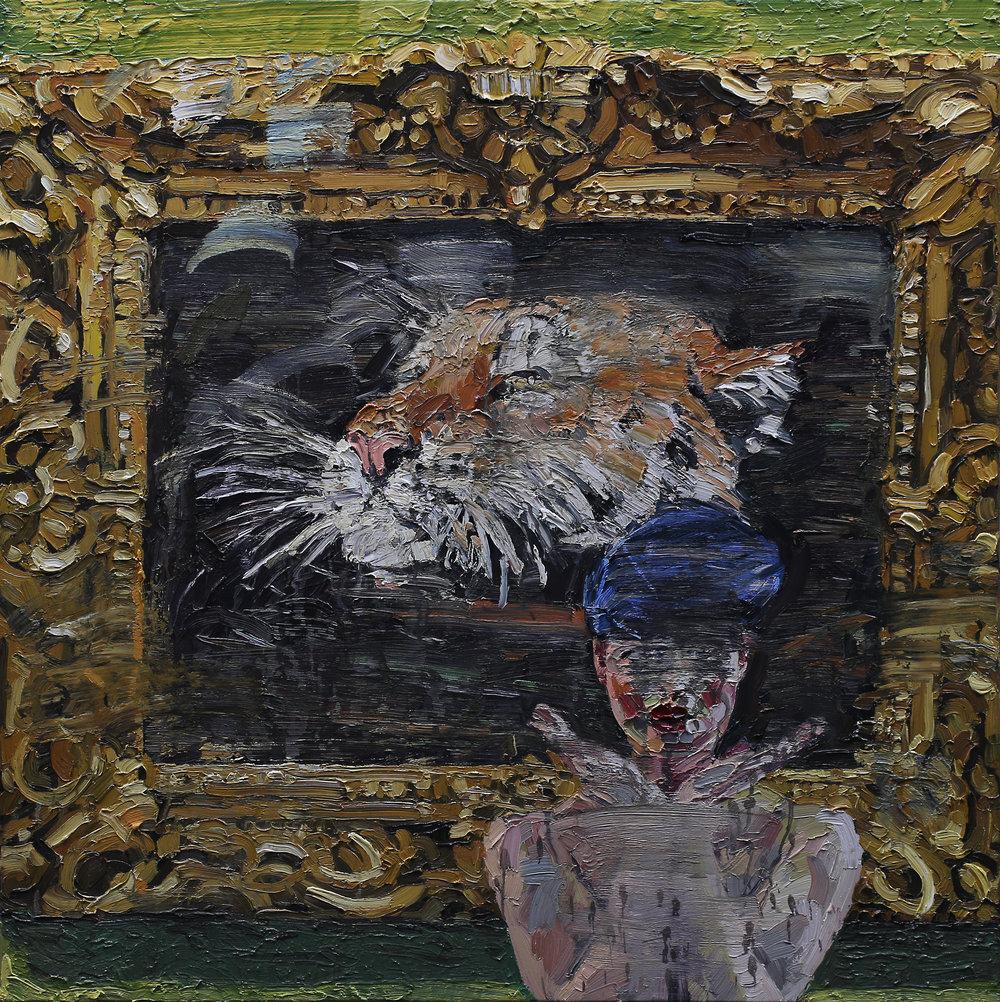 Naturlig teater II | 100x100 cm | Olje på lerret | Privat eie