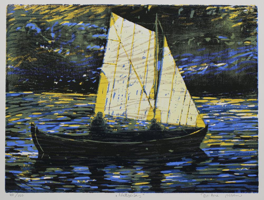 Nattseilas | kr 3 500,- | 45x60 cm | Fargetresnitt med fem plater | 2017 | 150 eks.
