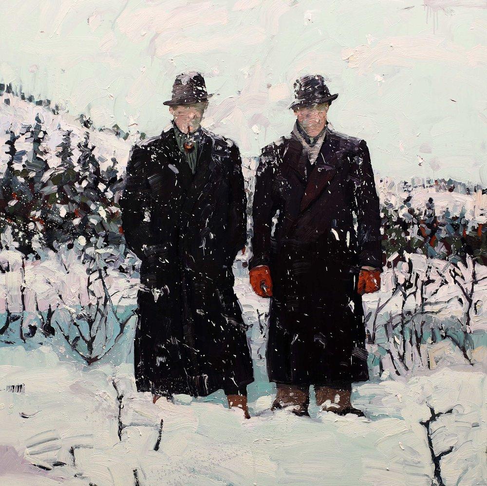 Agenter i sne – 150x150 cm – Eggoljetempera på lerret – Privat eie