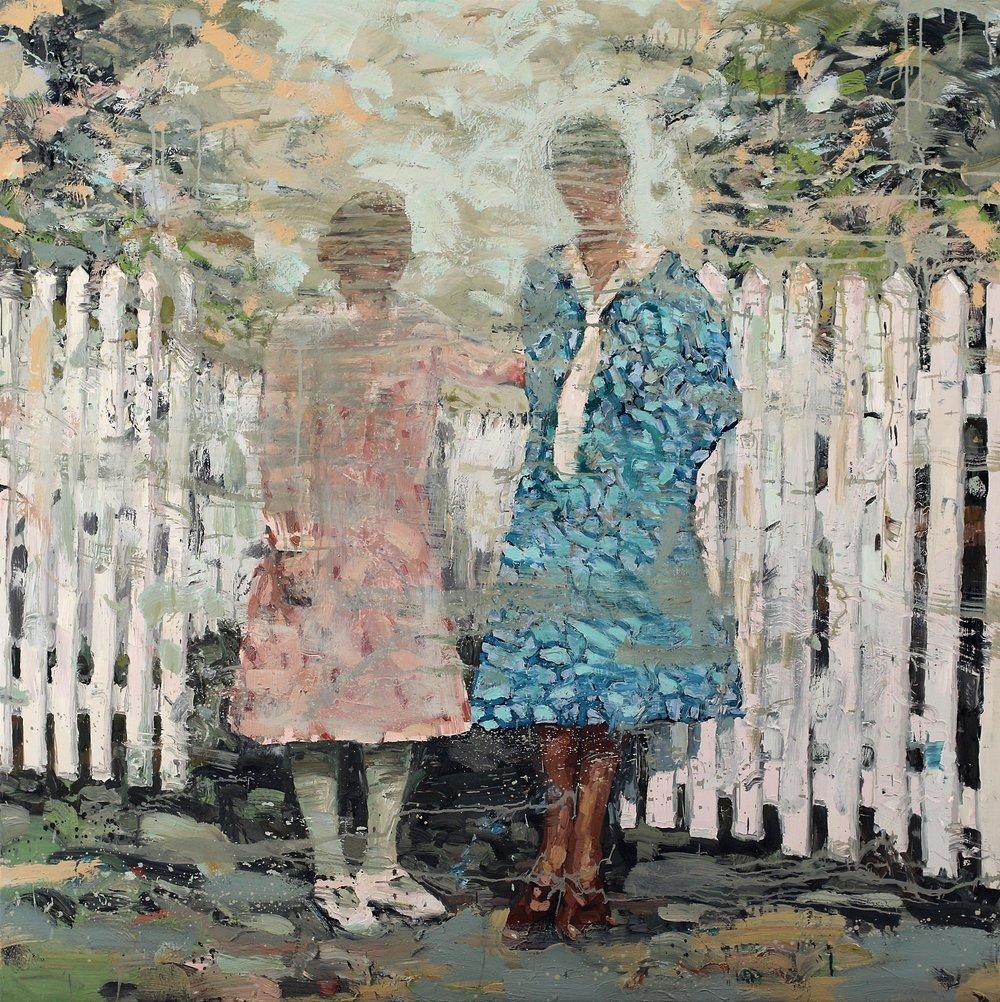 Søstre ved stakittet – 150x150 cm – Eggoljetempera på lerret – kr. 60 000,- – Vises på Nutheim fra 4. mai