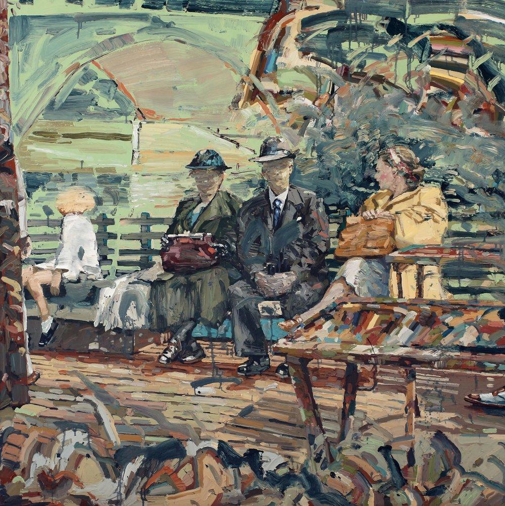 Reisende på dekk – 150x150 cm – Eggoljetempera på lerret – kr. 60 000,- – Vises på Nutheim fra 4. mai