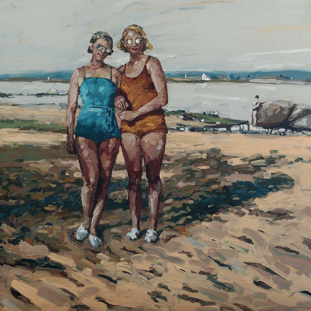 """Venninner med badedrakt og solbriller"" – 150x150 cm – kr. 60 000,- – Vises i Grimstad Kunstforening fra 23. juni."