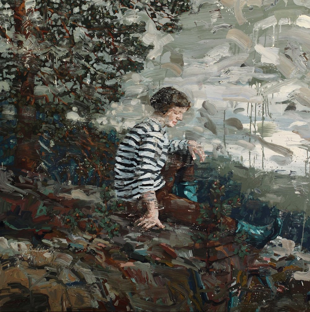 Astrid ved furua – 150x150 cm – Eggolje på lerret.– Galleri Grette