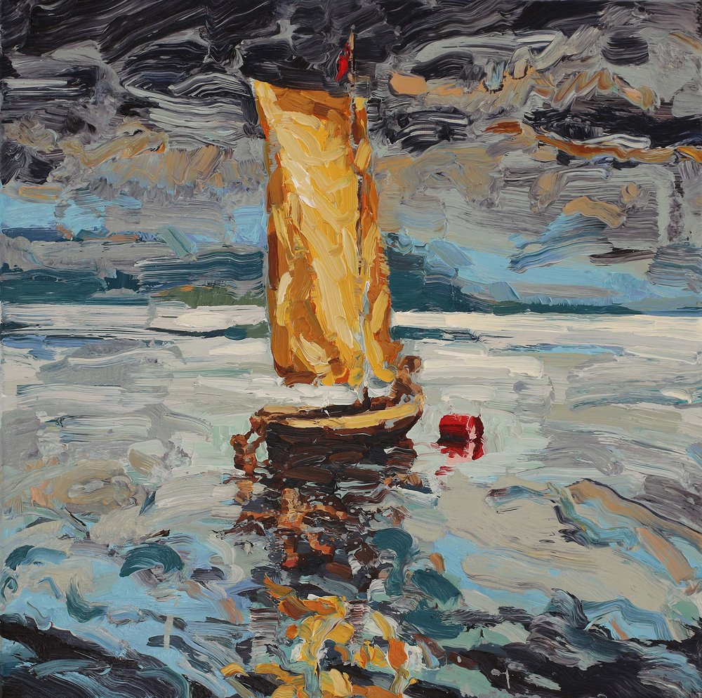 Det gule seilet – 55x55 cm – Eggoljetempera på lerret – kr 15 000,- – Vises i Galleri Elisabeth på Tysnes frå 16. juni