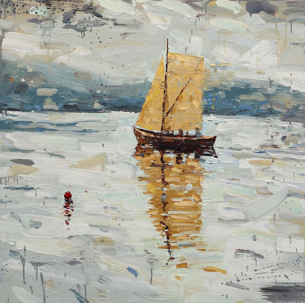 Seilbrisen løyer – 100x100 cm – Eggoljetempera på lerret – kr 32 000,- – Vises i Galleri Elisabeth på Tysnes frå 16. juni