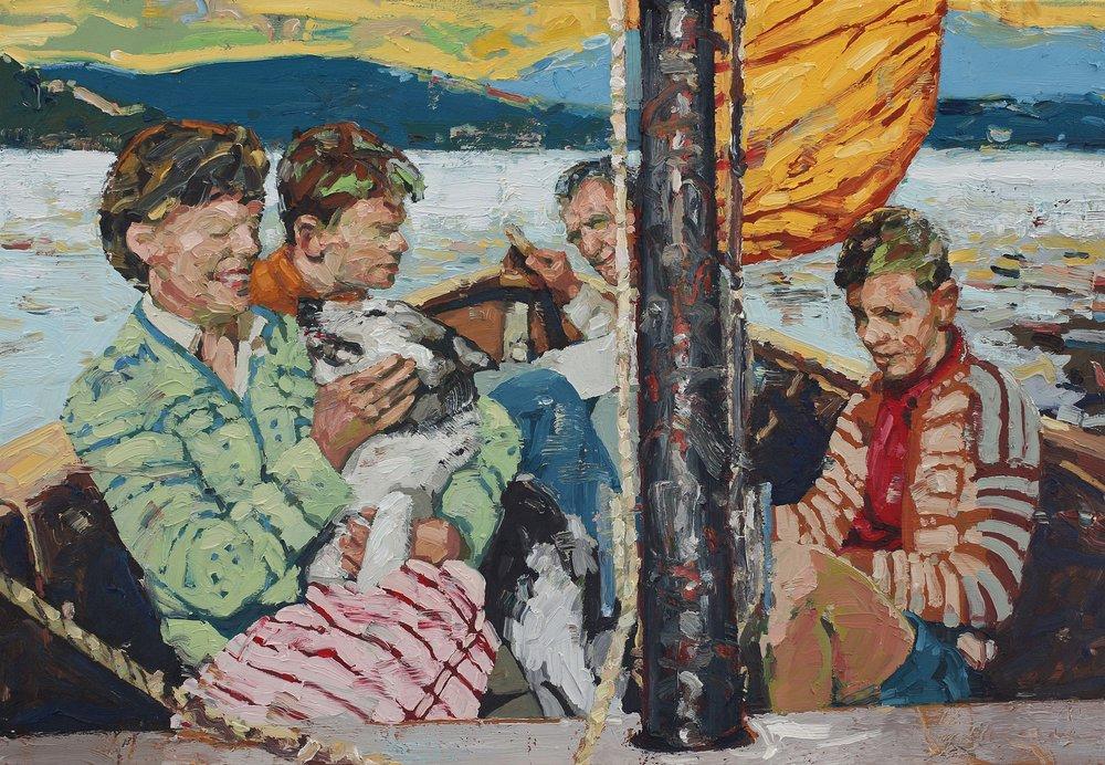Søndag på fjorden – 90x130 cm – Eggoljetempera på lerret – kr 35 000,- ~Vises i Farsund Kunstforening fra 16. juni