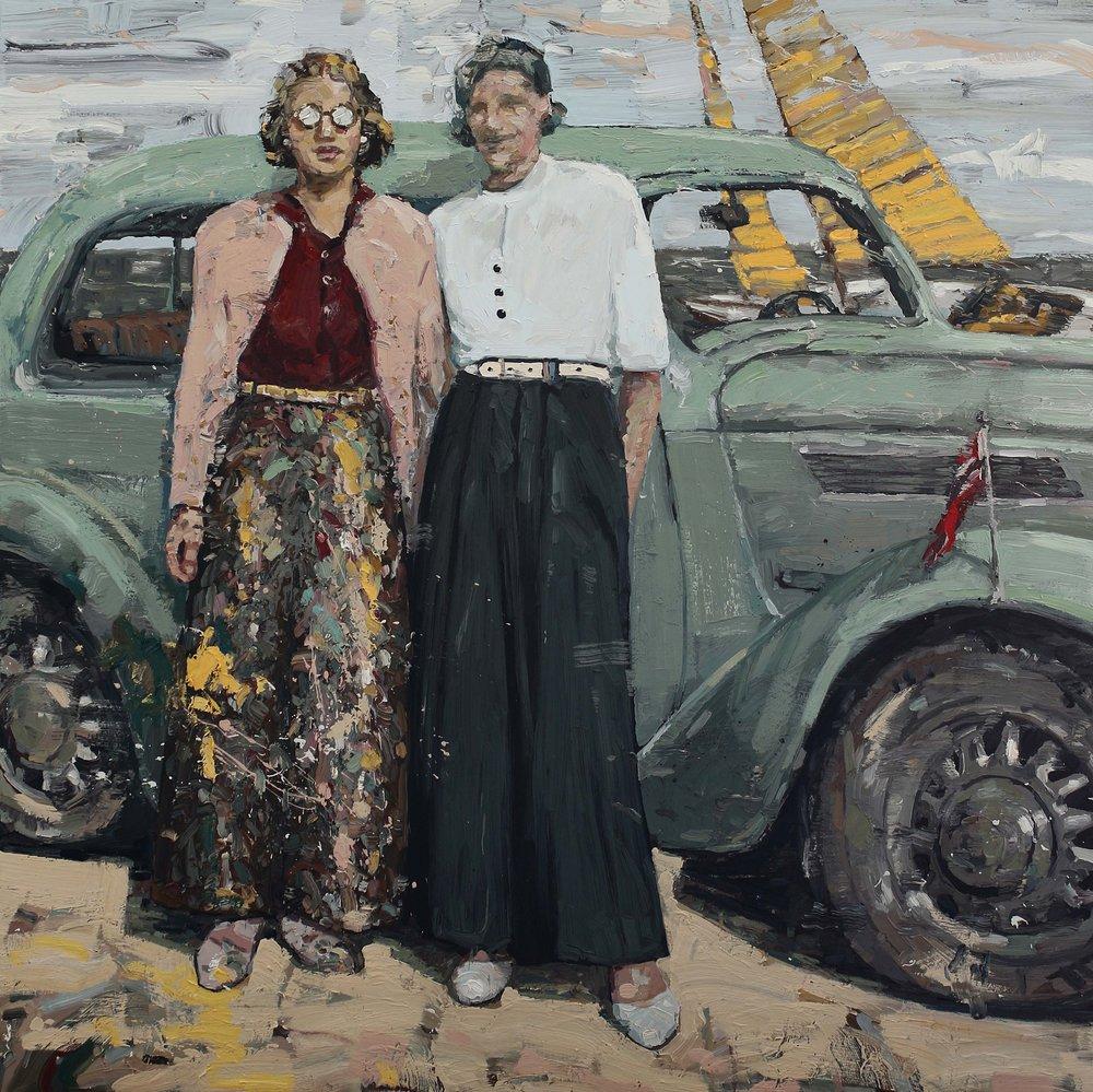 Jenter i fantastiske bukser – 150x150 cm – Eggoljetempera på lerret – kr 60 000,- – Vises på Galleri A i Oslo fra 14. juni.