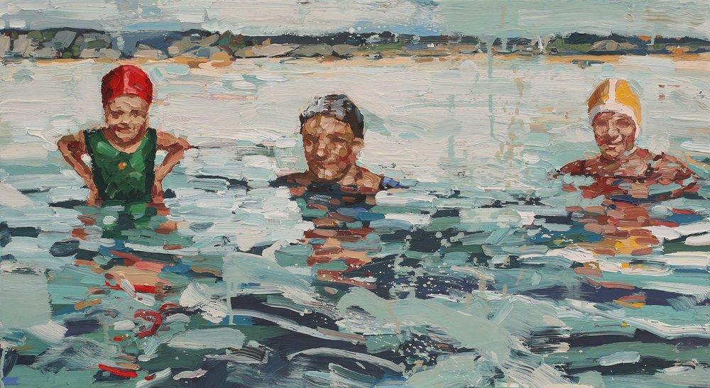 Sjøbadere – 55 x 100 cm – kr 29 000,-