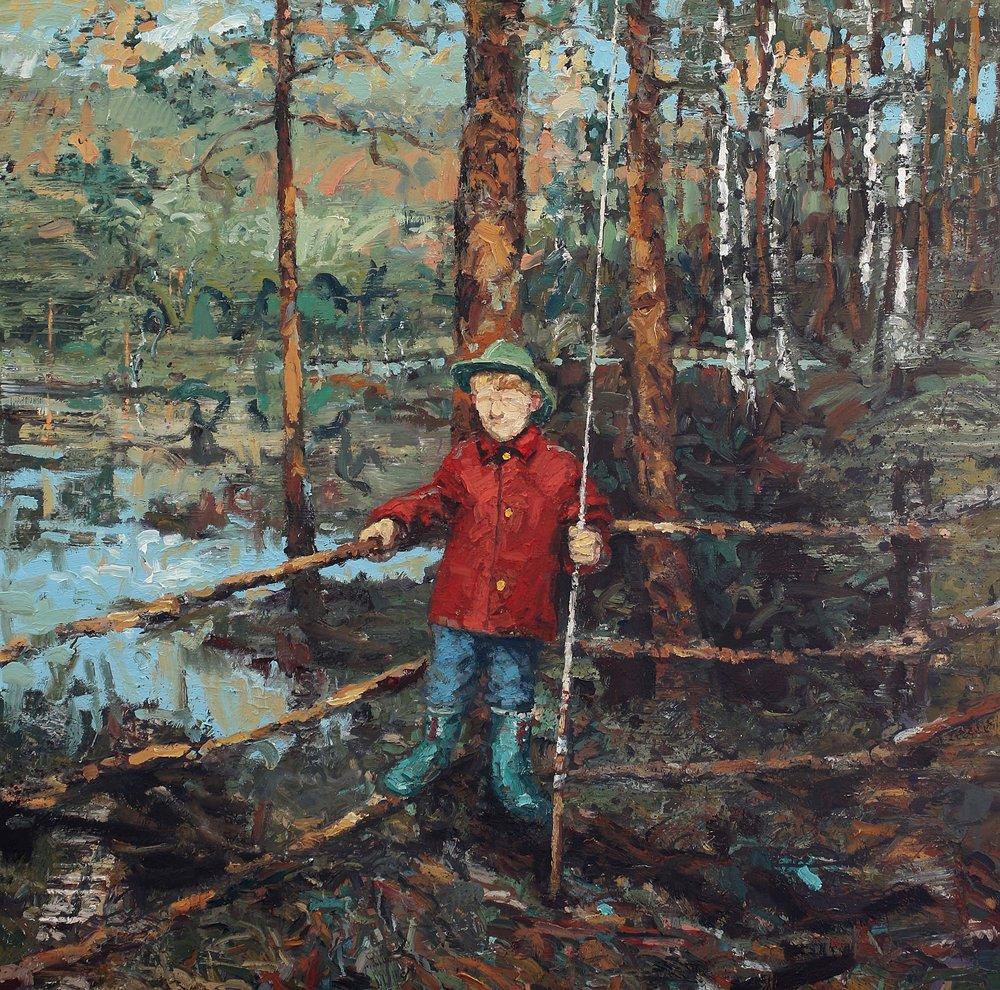Skoggutt med fiskestang – 150x150 cm cm – Eggoljetempera på lerret – kr. 75 000,-