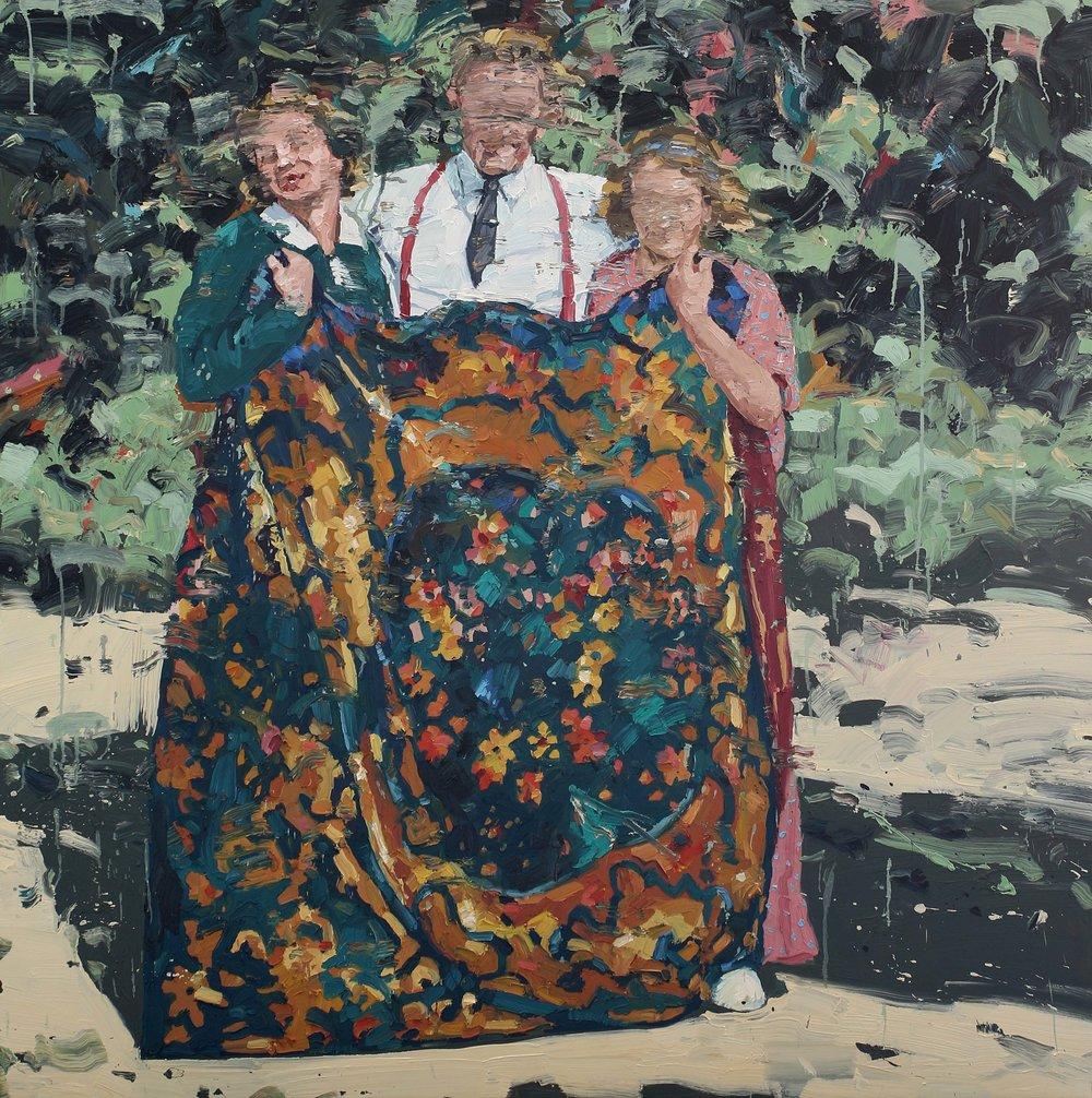 Mann med to damer og et teppe – 150x150 cm – Eggoljetempera på lerret – kr 60 000,- – Vises i Grimstad kunstforening fra 23. juni.