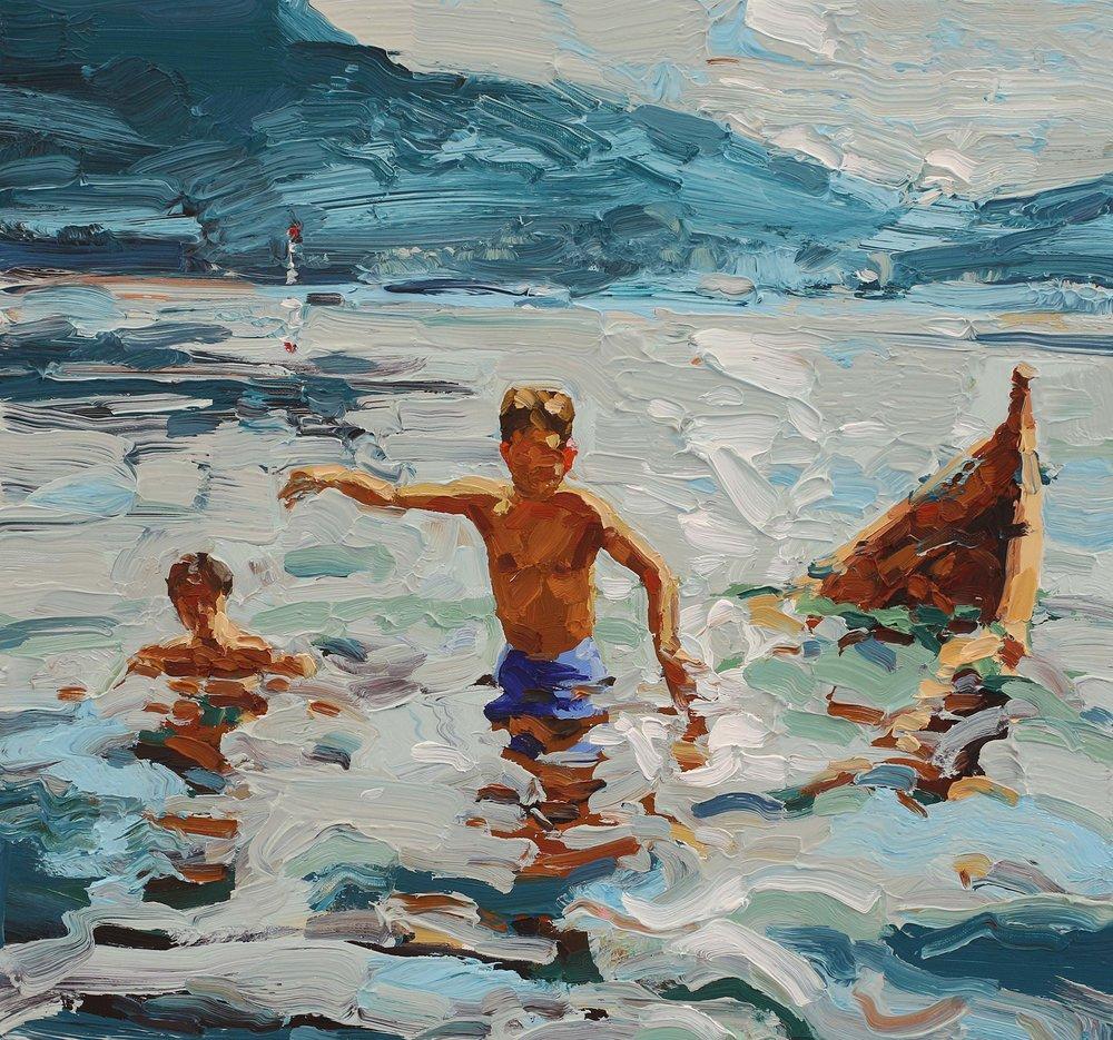 Badere med sunket båt – 55x55 cm – Eggoljetempera på lerret – Kr. 15 000,- – Vises i Grimstad Kunstforening fra 23. juni