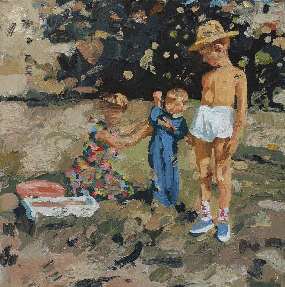 Sterkenils som barn – 55x55 cm – Eggoljetempera på lerret – kr 15 000,- – Vises i Grimstad Kunstforening fra 23. juni